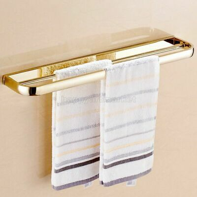 Luxury Gold Brass Towel Rail Holder Bathroom Wall Mount Double Towel Rails Bars
