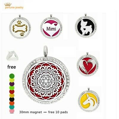 30mm Pendant Necklace 316L Steel Aroma Essential Oil Diffuser Locket With Chain