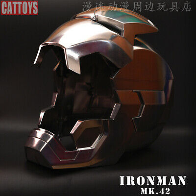 New Full Metal Version CATTOYS 1:1 Iron Man MK42 with LED Helmet Replica Polishe