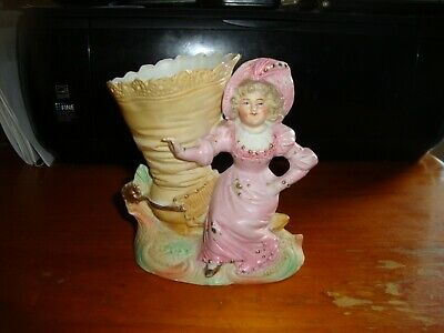 Vintage Boot Vase with Girl, VG Cond, impressed no.3210