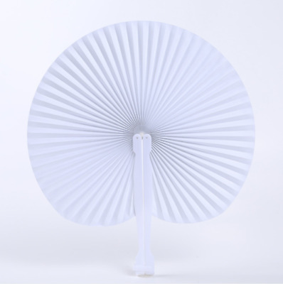 White Blank Chinese Paper Folding Hand Fan Oriental Party Wedding Favors Gifts