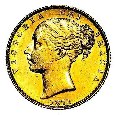 1871 Queen Victoria Great Britain London Mint Gold Sovereign Coin