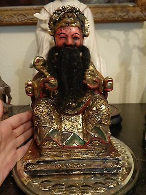 Antique  Large Chinese Hand Carved  Wood  Home Wealth Ancestor Shrine Figure