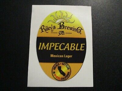 RILEYS BREWING COMPANY Impecable California STICKER decal craft beer brewery