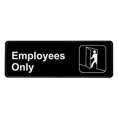 Alpine Industries Black 3 in. X 9 in. Self-Adhesive Hanging Employees Only Sign