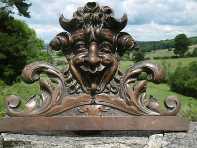 MAGNIFICENT 19thc GOTHIC MAHOGANY CARVED HORNED DEVILISH HEAD PEDIMENT  C.1860's