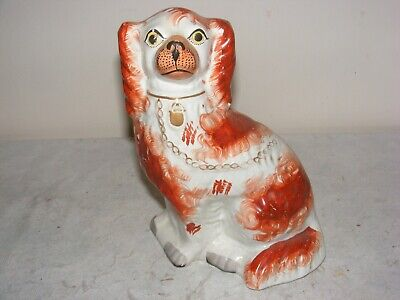 "ANTIQUE 19th C STAFFORDSHIRE POTTERY RED & WHITE MANTEL DOG SPANIEL 9"" VICTORIAN"