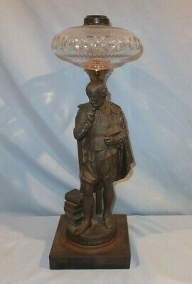 Scarce Large B&H Bradley and Hubbard Figural Shakspeare  Oil Lamp
