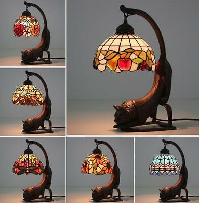 """8"""" Vintage Tiffany Stained Glass Red Dragonfly Cat Flower Butterfly Table Lamp"""