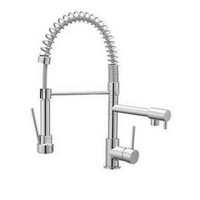 Cooke & Lewis Bilbrough Chrome finish Kitchen Side lever spring neck & spout tap