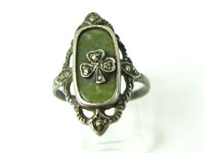 Antique Sterling Silver Connemara Marble Marcasite Clover Ladies Ring 3.6g