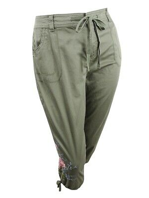 Style & Co. Women's Plus Size Embroidered Cropped Cargo Pants (14W, Olive Sprig)