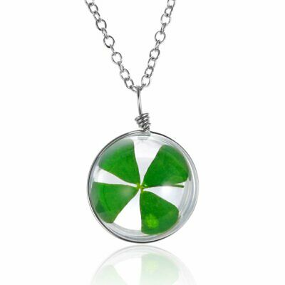 Fashion Glass Nature Flower Leaf Clover Women Pendant Necklace Chain Jewelry HOT