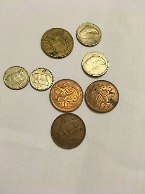 Rare COLLECTION OF  8 IRISH EIRE COINS SILVER AND BRONZE