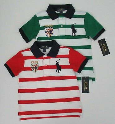 NWT Ralph Lauren Toddler Boys S/S Big Pony Stripe Mesh Polo Shirt 2/2t 3t 4t NEW