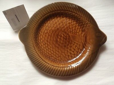 Vintage Majolica French Fish Plate, fm1048