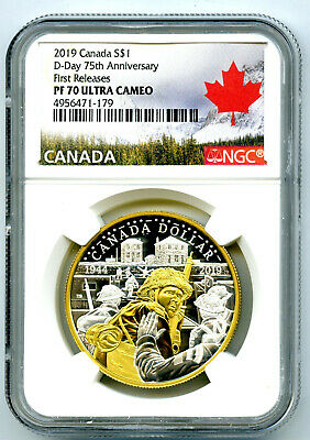 2019 Canada 1Oz Silver Ngc Pf70 Ucam Gilt 75Th D-Day Anniversary First Releases