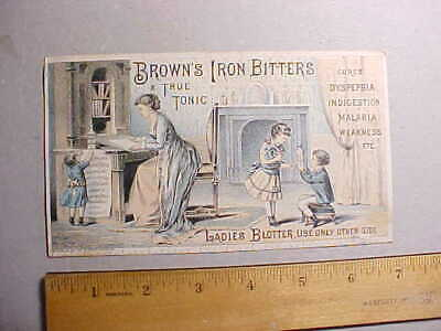 1878 Browns Iron Bitters Medicine Large Fancy Trade Card And Unused Blotter Vg+