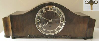 Vintage Stunning Oak Cased Westminster Chimes Mantel Clock & Key