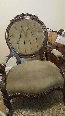 Antique Victorian Chair, Balloon Back Gentleman's Parlor Arm Chair, Carved, NICE