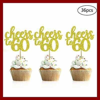 36 PCS Cheers To 60 Cupcake Toppers GOLD Glitter 60Th Birthday Picks Annive Gold