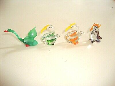 Vintage Miniature Glass Swan, 2 x Pelicans + Penguin, all in excellent cond