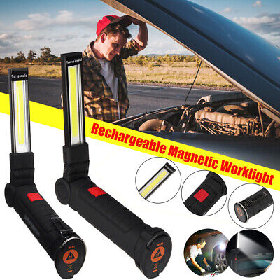 Rechargeable COB LED Work Light Magnet Flashlight with Hook Folding Torch Lamp