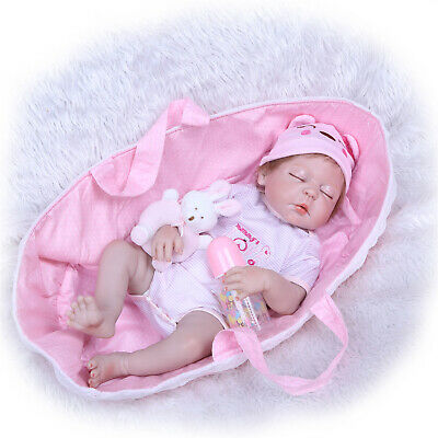 "Sleeping Reborn Toddler Girl Doll 23"" Reborn Doll Silicone Full Body with Basket"