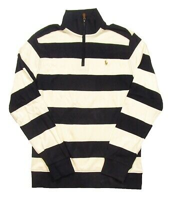 Polo Ralph Lauren Boys Chic Cream/Navy Striped Long Sleeve 1/4 Zip Shirt