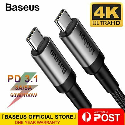 Baseus USB 3.1 Type C to Type C PD Cable 3A/5A Quick Charge for MacBook Samsung