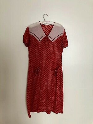 1930s Red & White Art Deco Dress With Front Pockets