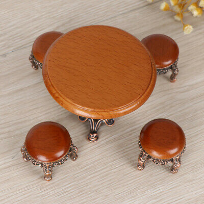 1:12 Dollhouse Miniature Furniture Wooden Round Kitchen Side Table and  stool HU