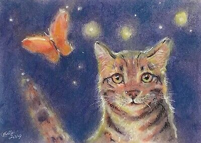 Original painting kitten cat pastel fine Art listed direct by artist American