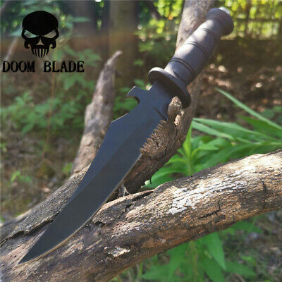 11.8IN Bowie Knife Fixed Blade Hunting Knives Leather Handle Tactical Survival