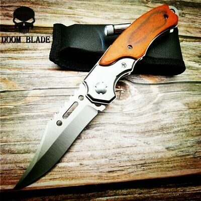 Quick Open Knives Folding Knife Survival Tactical Combat Camping with Led Light