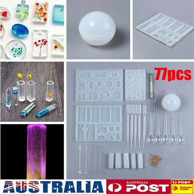 AU 77Pcs Resin Casting Molds Silicone Jewelry Pendant Mould Clay Craft DIY Kit