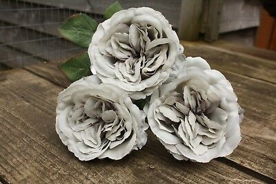 3 x VINTAGE SOFT PALE GREEN SILK OPEN OLD ENGLISH ROSES 9cm LONG STEMS