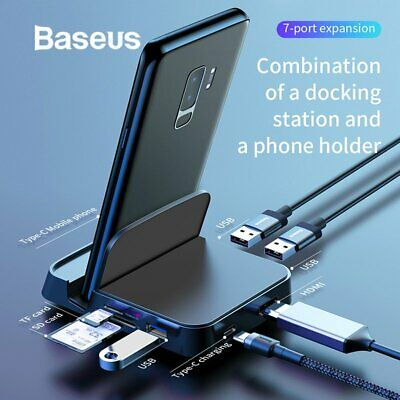 Baseus USB Type-C HUB HDMI USB SD/TF Docking Station Power Adapter for PC Phone
