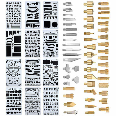 Pro Wood Burning Pen Tips Soldering Stencil Iron Craft Set Pyrography Kit 65pcs