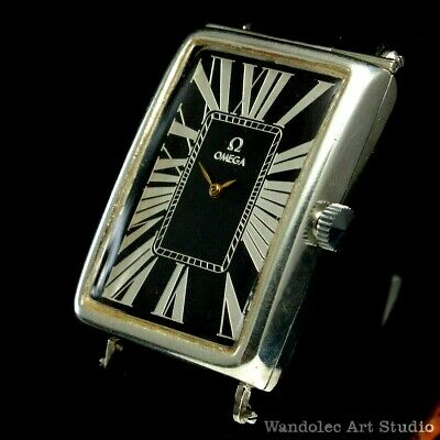 Vintage Men's Wrist Watch OMEGA Art Deco Men Black Silver Mens Wristwatch Swiss