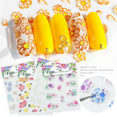 5D Nail Art Engraved Flower Sticker Self-adhesive Embossed Outline Decals Tips