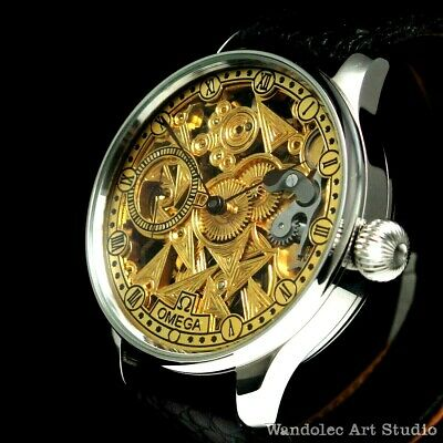 OMEGA Vintage Men's Wrist Watch Stainless Steel Skeleton Mens Wristwatch Swiss