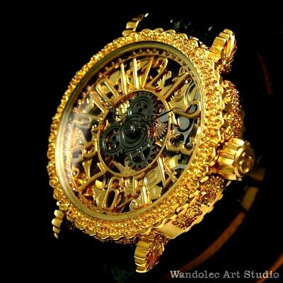 OMEGA Vintage Men's Wrist Watch Gold Skeleton Mens Wristwatch Mechanical Swiss