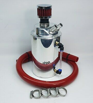 2 Litre Silver Polished Alloy Oil Catch Tank / Can Red 10mm ID Hose + Filter