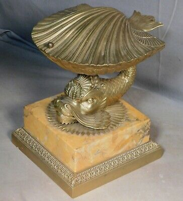 Antique French Empire Figural Box Bronze marble Dolphin Baroque Shell Inkwell