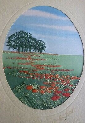Alison Holt machine embroidered stitched landscape picture Bright colours