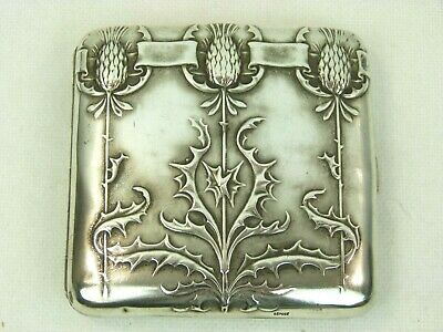 Absolutely Stunning Art Nouveau Thistle Decorated French Silver Cigarette Case