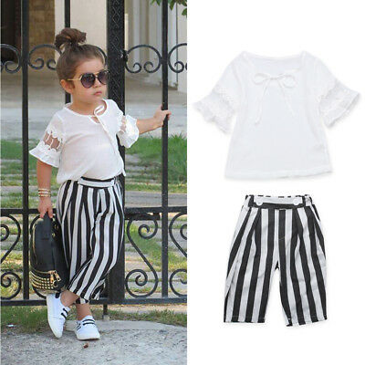 2PCS Toddler Kids Baby Girls Outfits T-shirt Tops Dress+Casual Pants Clothes Set