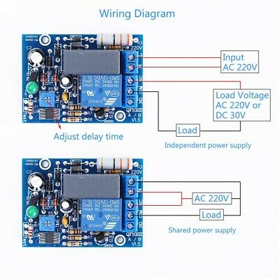 0~100s AC 220V Delay Relay Module Adjustable Device Power ON Protector