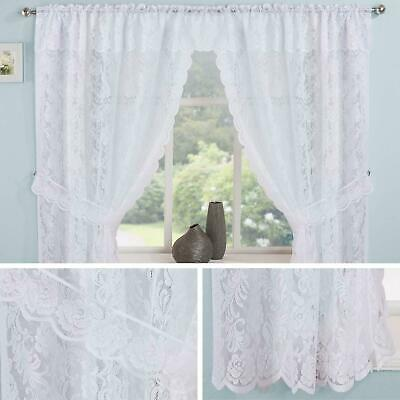 Lace Curtain Sets White Kew Complete Kitchen Window Floral Ready Made Curtains